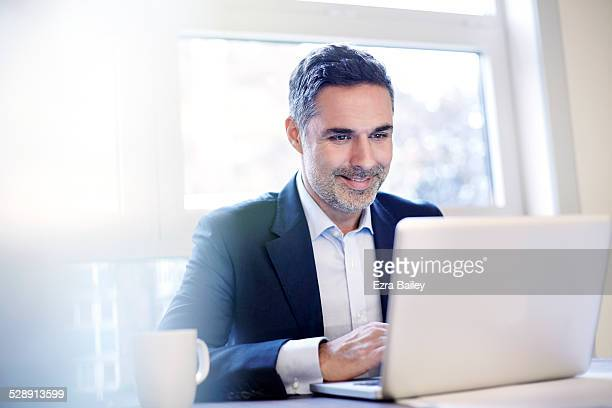 businessman working on a laptop smiling. - using laptop stock pictures, royalty-free photos & images