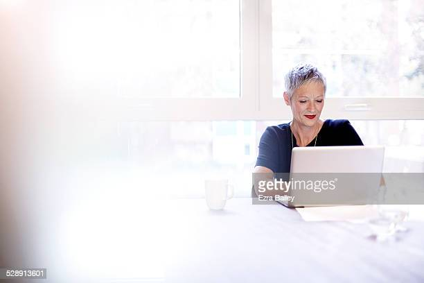 mature business woman working on a laptop - lipstick stock pictures, royalty-free photos & images
