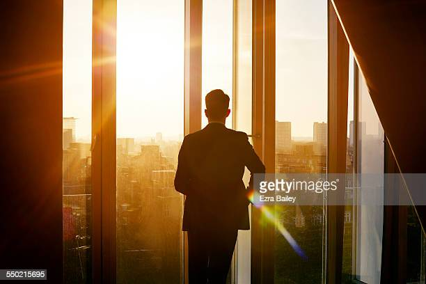 Businessman looking out over city at sunrise
