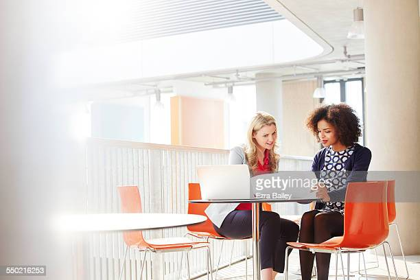 Two business women discussing a project.
