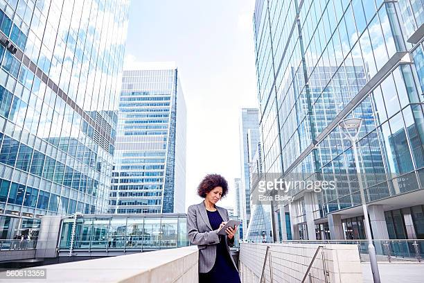 Modern business woman working on a tablet