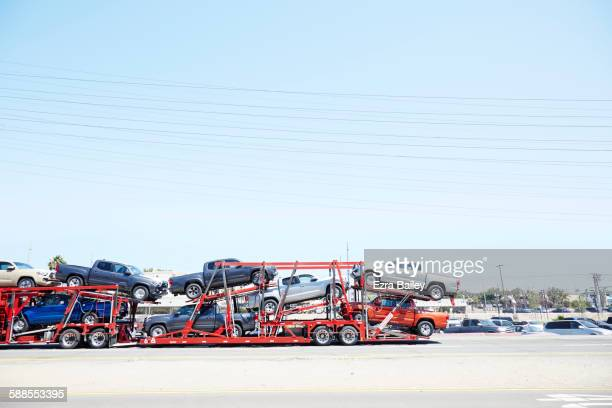 car transporter full of cars in usa - car transporter stock photos and pictures