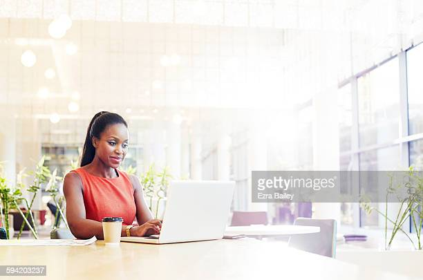 businesswoman in a modern office using her laptop. - image stock pictures, royalty-free photos & images