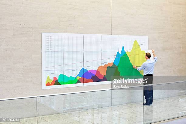 businessman creates an infographic in an office - business strategy foto e immagini stock