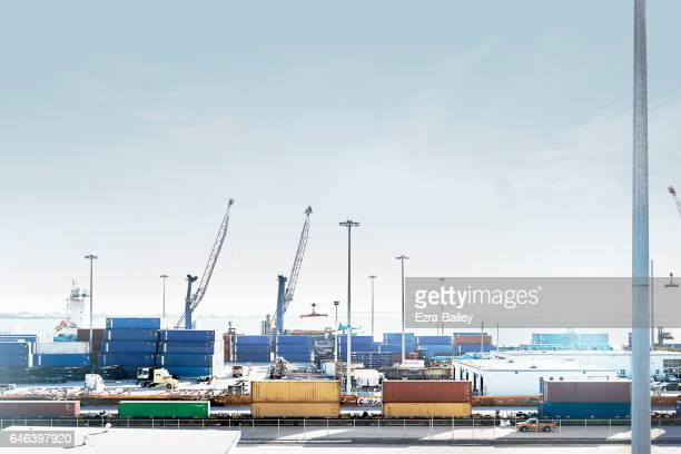 Industrial container port with cranes
