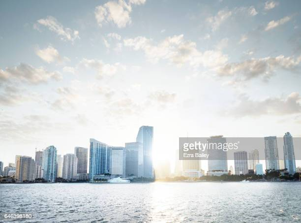 View of the Miami Skyline at sunset
