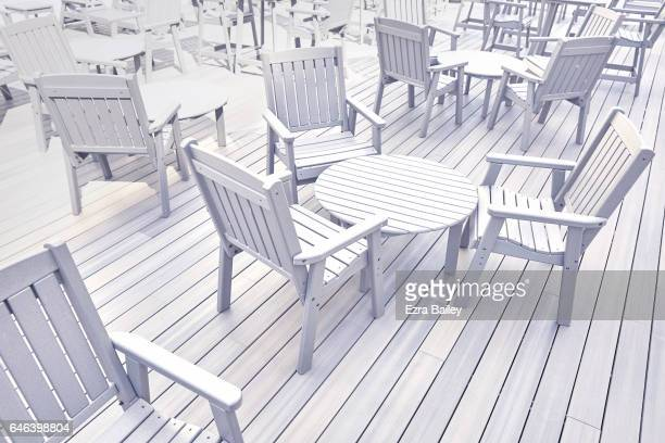 Graphic composition of tables and chairs