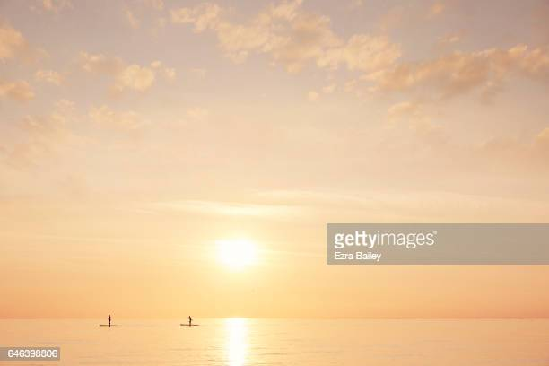 Paddle boarders on a calm sea at sunset