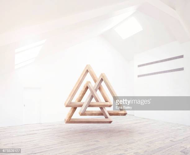 group of impossible interlocking triangles. - three objects stock pictures, royalty-free photos & images