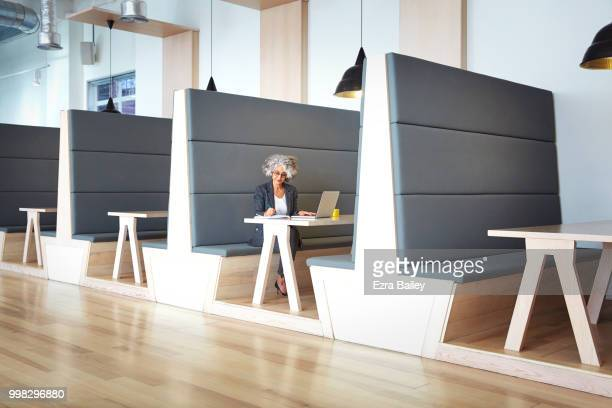Professional woman working on a laptop in a clean modern open plan office.