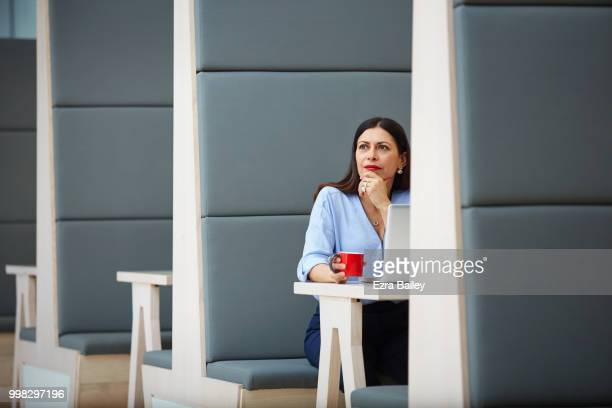 Professional woman working on a laptop in a modern clean office.