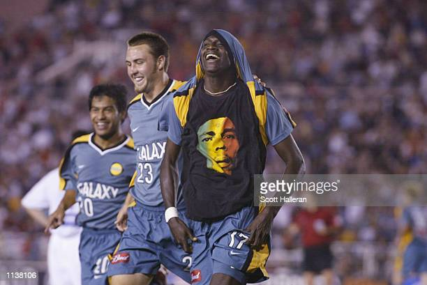 Ezra Hendrickson of the Los Angeles Galaxy celebrates after scoring the second and tying goal against the Kansas City Wizards during the game at the...