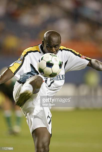 Ezra Hendrickson of the Los Angeles Galaxy clears the ball out of the penalty box against the Colorado Rapids in the second half at Mile High Stadium...
