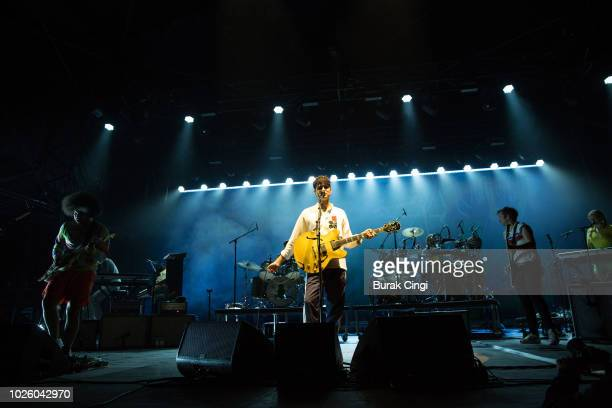 Ezra Koenig and Chris Baio of Vampire Weekend perform at End Of The Road Festival at Larmer Tree Gardens on September 1 2018 in Farnham Dorset