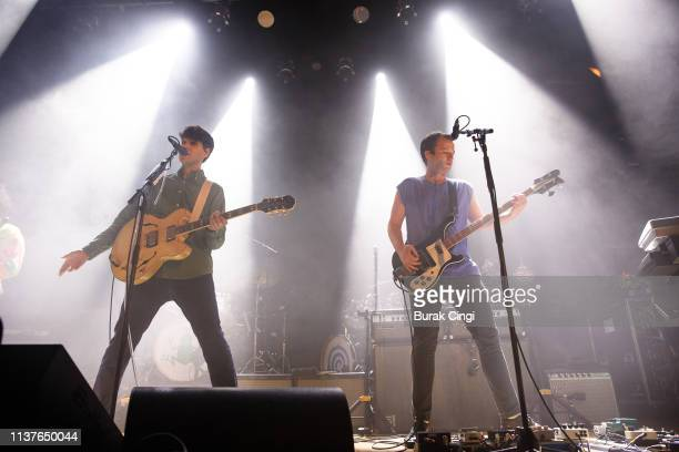 Ezra Koenig and Chris Baio of Vampire Weekend perform onstage at Islington Assembly Hall on March 22 2019 in London England