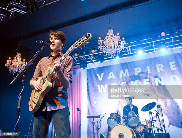 Ezra Koenig and Chris Tomson of Vampire Weekend perform on stage at O2 Academy on February 10 2010 in Birmingham England