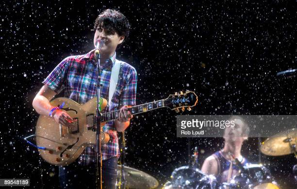 Ezra Koenig and Chris Tomson of Vampire Weekend performs at the 2009 All Points West Music Arts Festival at Liberty State Park on July 31 2009 in...