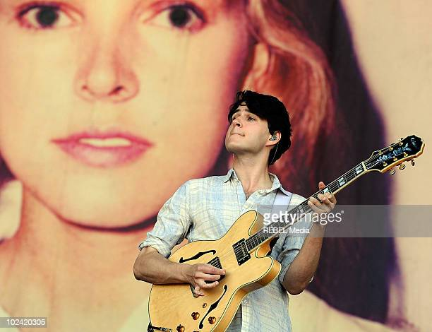Ezra Koenig of the american indie rock band Vampire Weekend performs on stage at the music festival at Worthy Farm on June 25 2010 in Glastonbury...