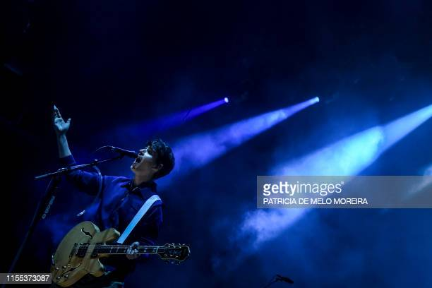 Ezra Koenig of US band Vampire Weekend performs on the second day of the 2019 Alive Festival in Oeiras in the outskirts of Lisbon on July 12 2019