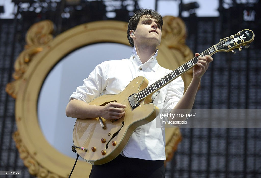 Ezra Koenig of Vampire Weekend performs as part of the 2013 Coachella Valley Music & Arts Festival at the Empire Polo Field on April 21, 2013 in Indio, California.