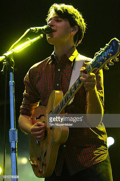 Ezra Koenig of Vampire Weekend performs as part of the Sasquatch Music Festival at the Gorge Amphitheatre on May 29 2010 in George Washington
