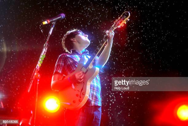 Ezra Koenig of Vampire Weekend performs at the 2009 All Points West Music Arts Festival at Liberty State Park on July 31 2009 in Jersey City New...