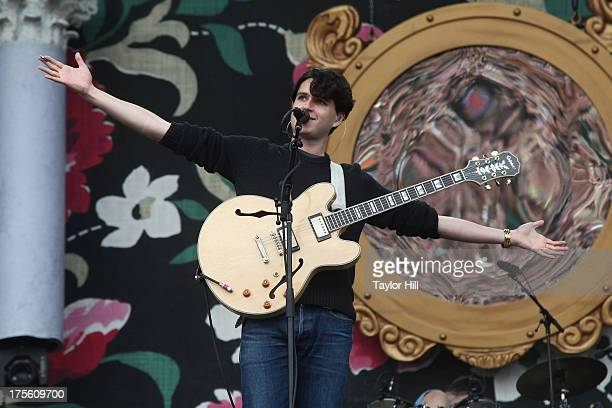 Ezra Koenig of Vampire Weekend performs during Lollapalooza 2013 at Grant Park on August 4 2013 in Chicago Illinois