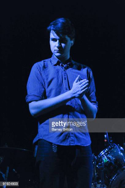 Ezra Koenig of Vampire Weekend performs on stage at Kings College London Student Union on October 15 2009 in London England