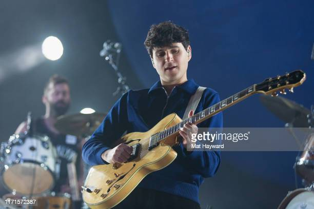 Ezra Koenig of Vampire Weekend performs on stage during the 'Father of the Bride' tour at WaMu Theater on September 27 2019 in Seattle Washington