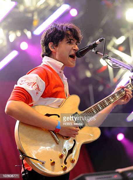 Ezra Koenig of Vampire Weekend performs on stage on day 3 at the Roskilde Festival on July 3 2010 in Roskilde Denmark