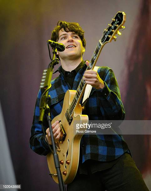 Ezra Koenig of Vampire Weekend performs on stage on the last day of Rockness Festival at Dores Loch Ness on June 13 2010 in Inverness Scotland