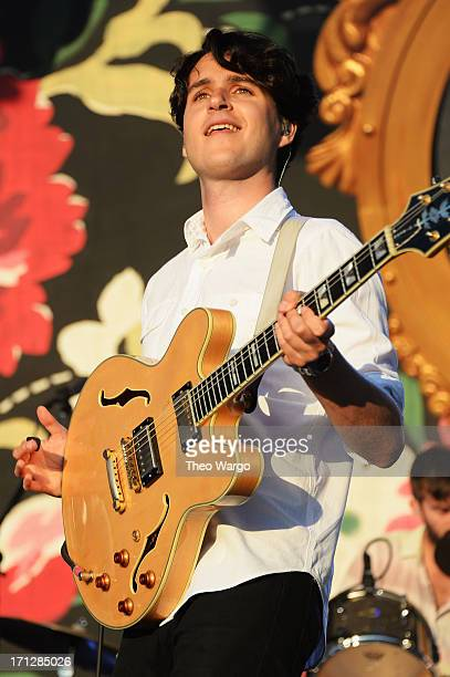 Ezra Koenig of Vampire weekend performs onstage at the Firefly Music Festival at The Woodlands of Dover International Speedway on June 23 2013 in...