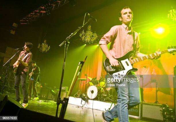 Ezra Koenig Rostam Batmanglij and Chris Baio of Vampire Weekend perform on stage at O2 Academy on February 10 2010 in Birmingham England
