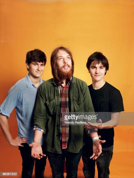 Ezra Koenlg of Vampire Weekend Robin Pecknold of Fleet Foxes and Meric Long of The Dodos pose for a group shot in 2008 in San Francisco CA
