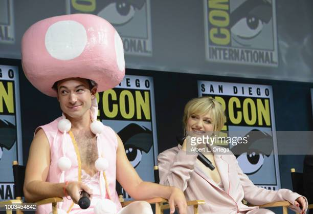 Ezra Miller and Alison Sudol speak onstage at the Warner Bros 'Fantastic Beasts The Crimes of Grindelwald' theatrical panel during ComicCon...