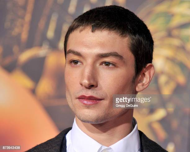 """Ezra Miller arrives at the premiere of Warner Bros. Pictures' """"Justice League"""" at Dolby Theatre on November 13, 2017 in Hollywood, California."""