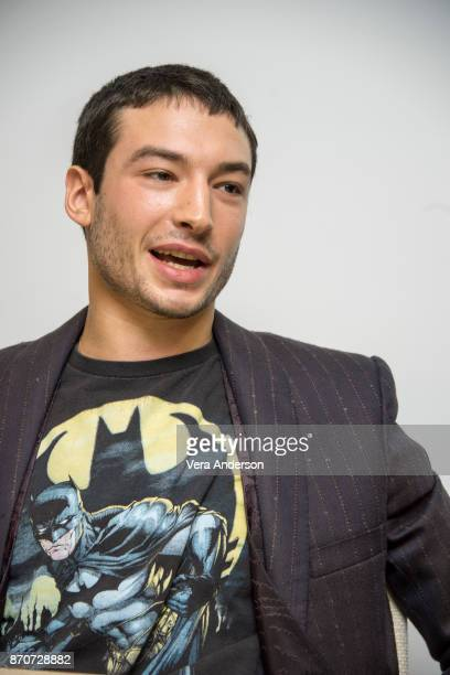 Ezra Miller at the 'Justice League' Press Conference at The Rosewood Hotel on November 4 2017 in London England
