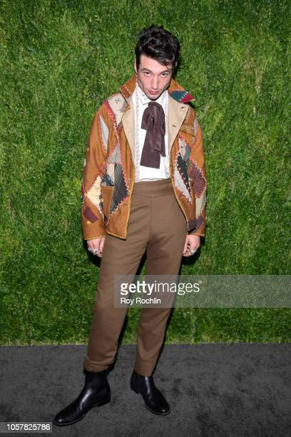 Ezra Miller attends the CFDA / Vogue Fashion Fund 15th Anniversary Event at Brooklyn Navy Yard on November 5 2018 in Brooklyn New York