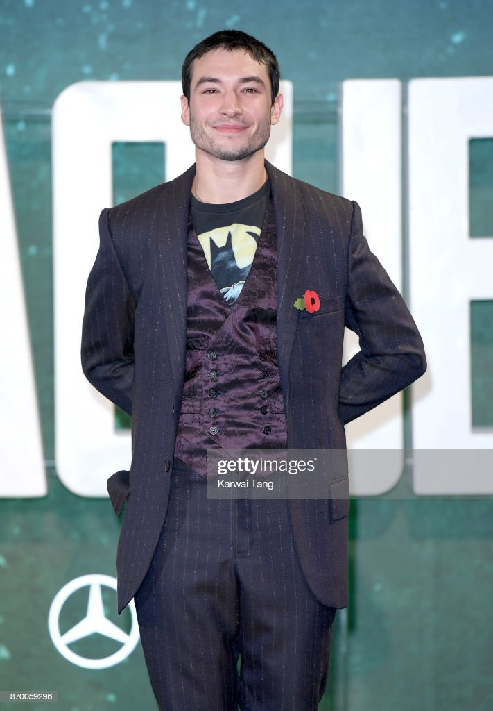 Ezra Miller attends the 'Justice League' photocall at The College on November 4, 2017 in London, England.
