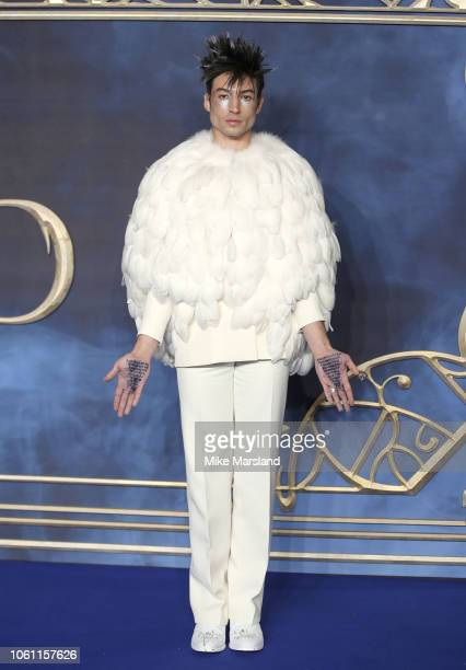 Ezra Miller attends the UK Premiere of Fantastic Beasts The Crimes Of Grindelwald at Cineworld Leicester Square on November 13 2018 in London England