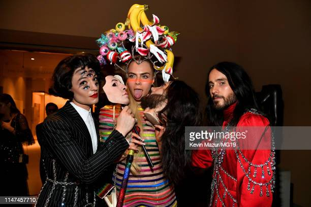 Ezra Miller, Cara Delevingne, and Jared Leto attend The 2019 Met Gala Celebrating Camp: Notes on Fashion at Metropolitan Museum of Art on May 06,...