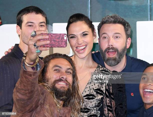 Ezra Miller Jason Momoa Gal Gadot and Ben Affleck attend the 'Justice League' photocall at The College on November 4 2017 in London England