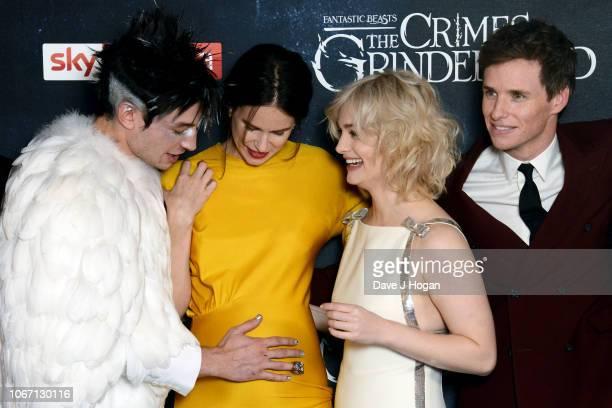 Ezra Miller Katherine Waterston Alison Sudol and Eddie Redmayne attend 'Fantastic Beasts The Crimes Of Grindelwald' UK Premiere at Cineworld...