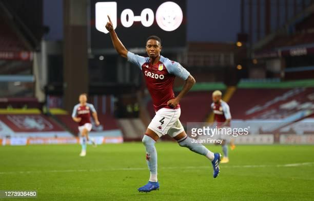 Ezri Konsa Ngoyo of Aston Villa celebrates after scoring his team's first goal during the Premier League match between Aston Villa and Sheffield...