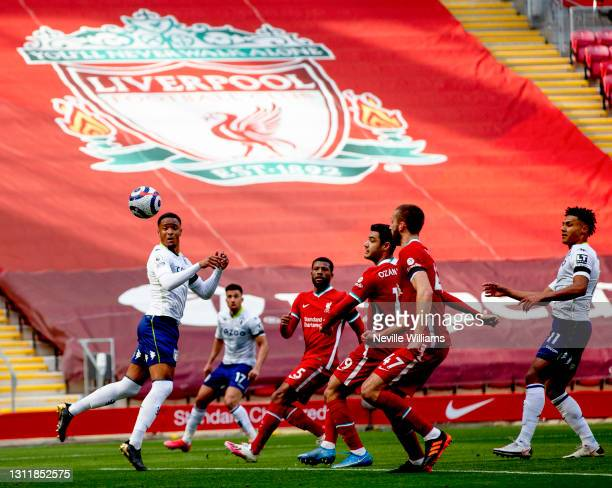 Ezri Konsa of Aston in action during the Premier League match between Liverpool and Aston Villa at Anfield on April 10, 2021 in Liverpool, England....