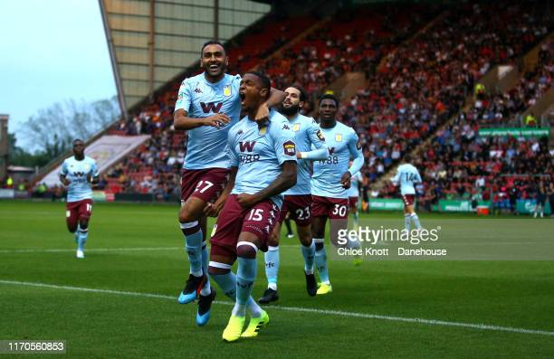 Ezri Konsa of Aston Villa celebrates scoring his teams first goal during the Carabao Cup Second Round match between Crewe Alexandra and Aston Villa...