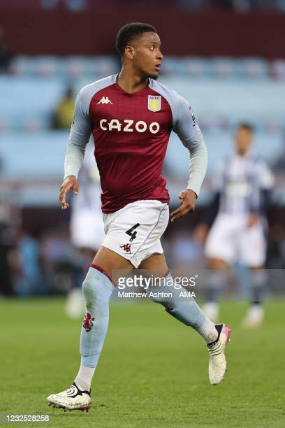 Ezri Konsa of Aston Villa during the Premier League match between Aston Villa and West Bromwich Albion at Villa Park on April 25, 2021 in Birmingham,...