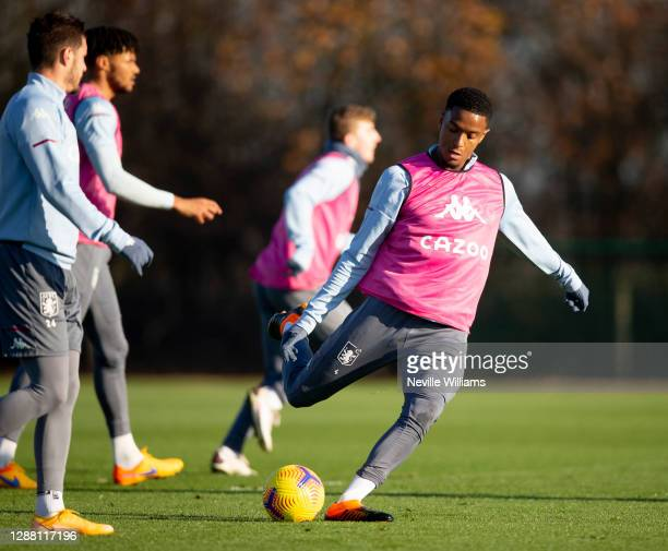Ezri Konsa of Aston Villa in action during a training session at Bodymoor Heath training ground on November 26 2020 in Birmingham England