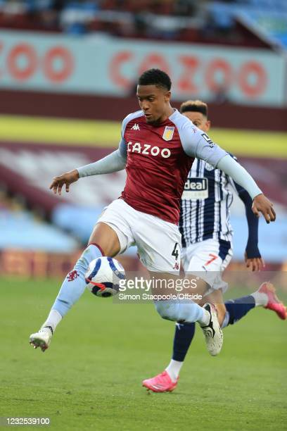 Ezri Konsa of Aston Villa in action during the Premier League match between Aston Villa and West Bromwich Albion at Villa Park on April 25, 2021 in...