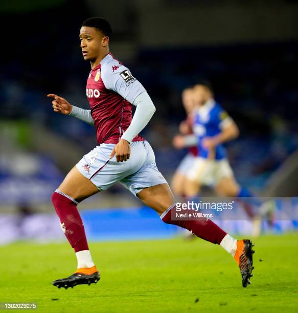 Ezri Konsa of Aston Villa in action during the Premier League match between Brighton & Hove Albion and Aston Villa at American Express Community...